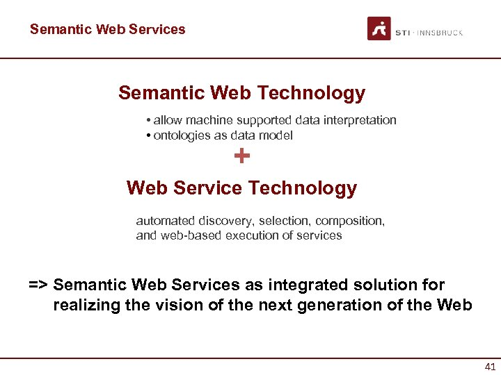 Semantic Web Services Semantic Web Technology • allow machine supported data interpretation • ontologies