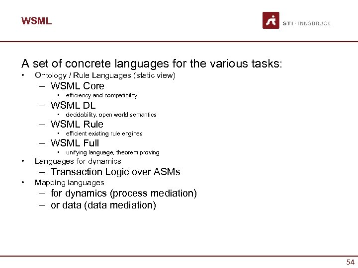 WSML A set of concrete languages for the various tasks: • Ontology / Rule