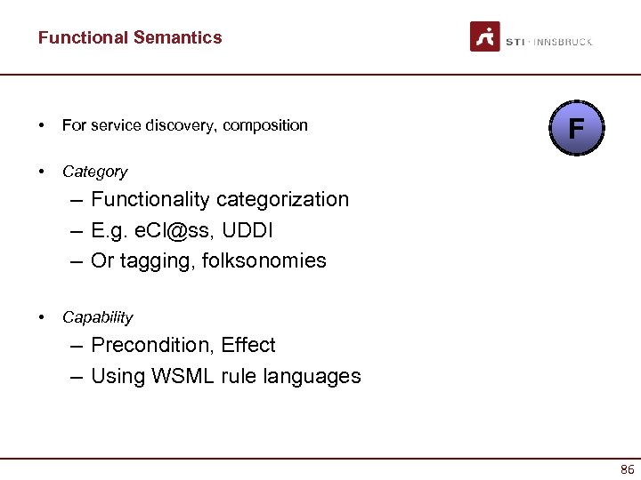 Functional Semantics • For service discovery, composition • F Category – Functionality categorization –