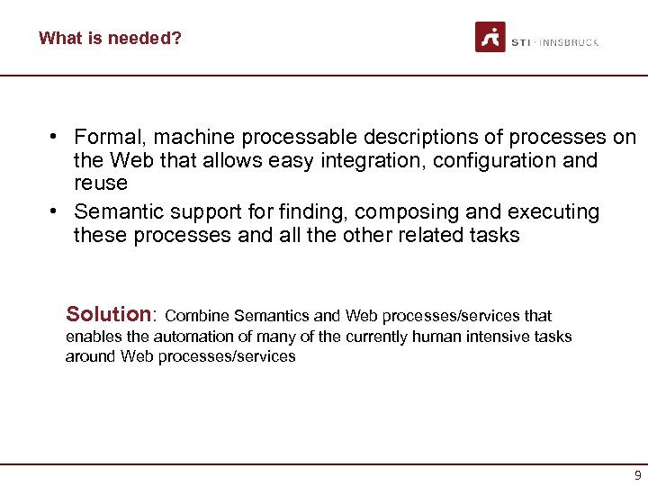 What is needed? • Formal, machine processable descriptions of processes on the Web that