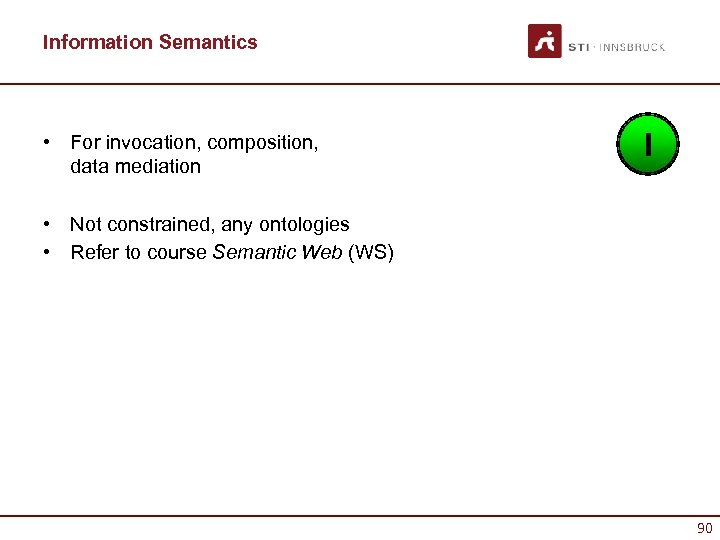 Information Semantics • For invocation, composition, data mediation I • Not constrained, any ontologies