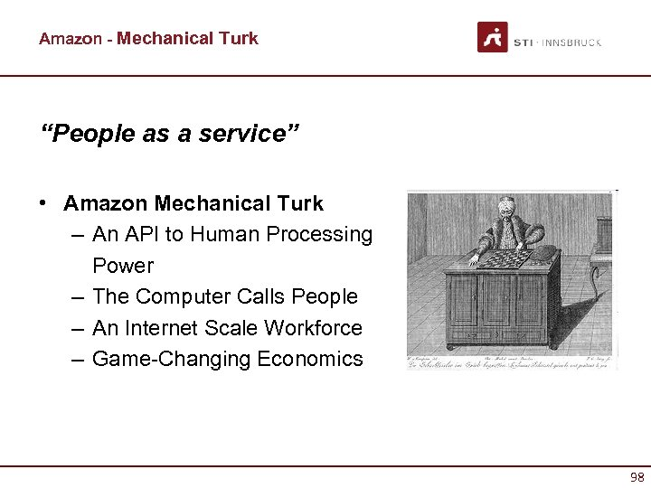 "Amazon - Mechanical Turk ""People as a service"" • Amazon Mechanical Turk – An"