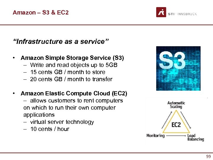 "Amazon – S 3 & EC 2 ""Infrastructure as a service"" • Amazon Simple"