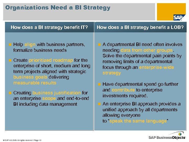 Organizations Need a BI Strategy How does a BI strategy benefit IT? n Help