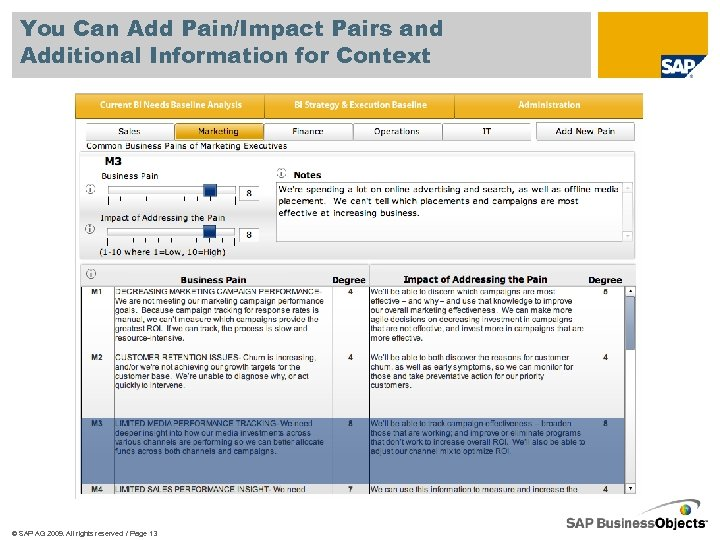 You Can Add Pain/Impact Pairs and Additional Information for Context © SAP AG 2009.