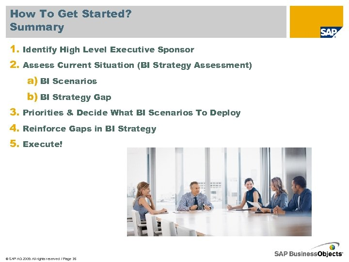 How To Get Started? Summary 1. Identify High Level Executive Sponsor 2. Assess Current