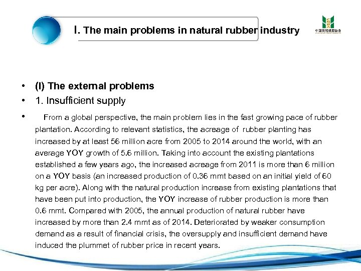 I. The main problems in natural rubber industry • (I) The external problems •