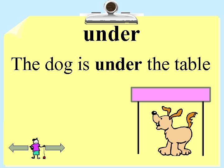 under The dog is under the table