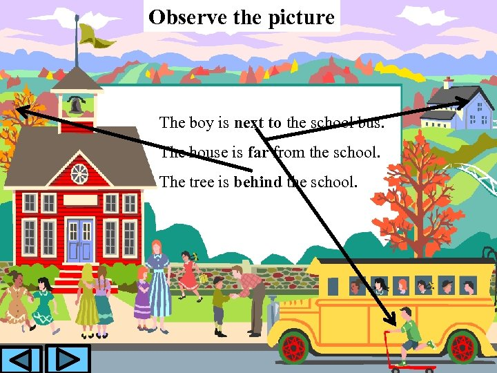 Observe the picture The boy is next to the school bus. The house is