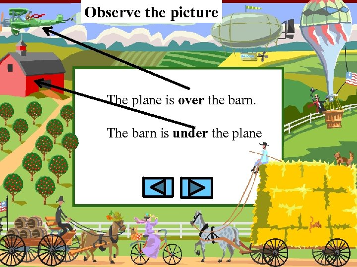 Observe the picture The plane is over the barn. The barn is under the