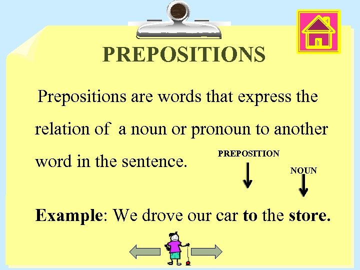 PREPOSITIONS Prepositions are words that express the relation of a noun or pronoun to