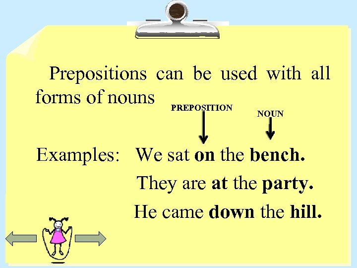 Prepositions can be used with all forms of nouns PREPOSITION NOUN Examples: We