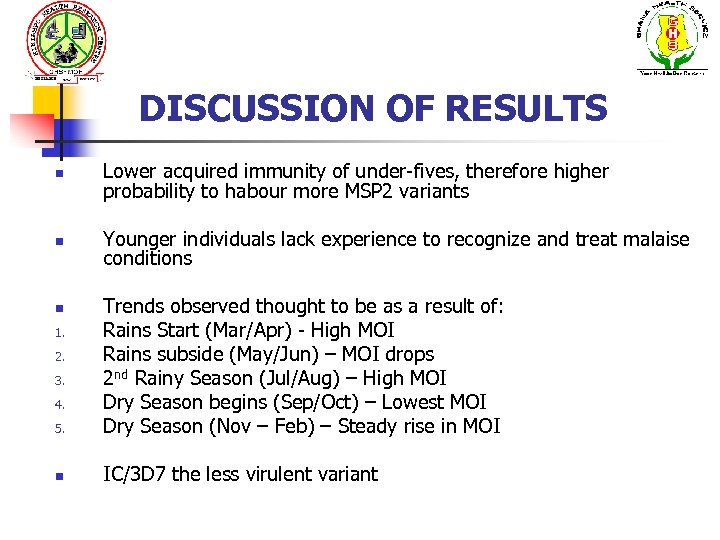 DISCUSSION OF RESULTS n Lower acquired immunity of under-fives, therefore higher probability to habour