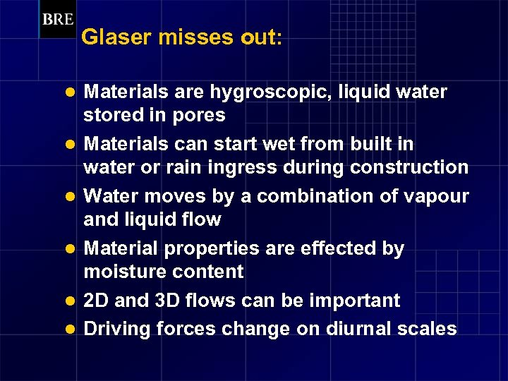 Glaser misses out: l l l Materials are hygroscopic, liquid water stored in pores