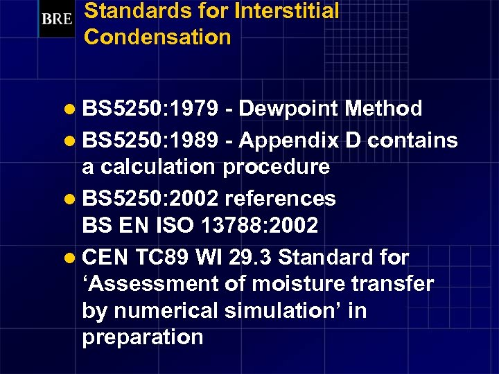 Standards for Interstitial Condensation l BS 5250: 1979 - Dewpoint Method l BS 5250:
