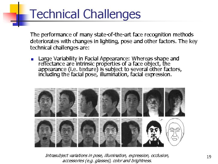 Technical Challenges The performance of many state-of-the-art face recognition methods deteriorates with changes in