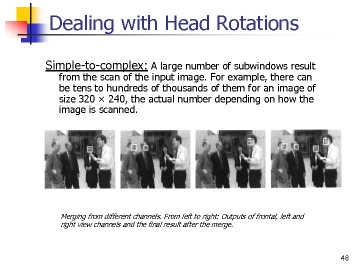 Dealing with Head Rotations Simple-to-complex: A large number of subwindows result from the scan