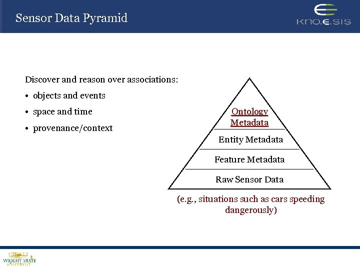 Sensor Data Pyramid Discover and reason over associations: • objects and events • space