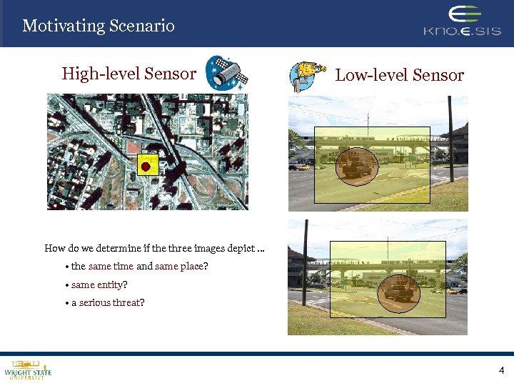 Motivating Scenario High-level Sensor Low-level Sensor How do we determine if the three images