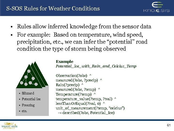 S-SOS Rules for Weather Conditions • Rules allow inferred knowledge from the sensor data