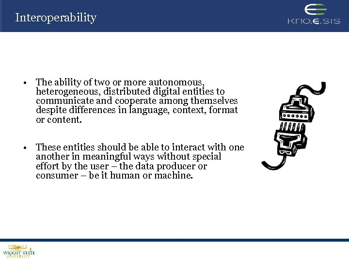 Interoperability • The ability of two or more autonomous, heterogeneous, distributed digital entities to