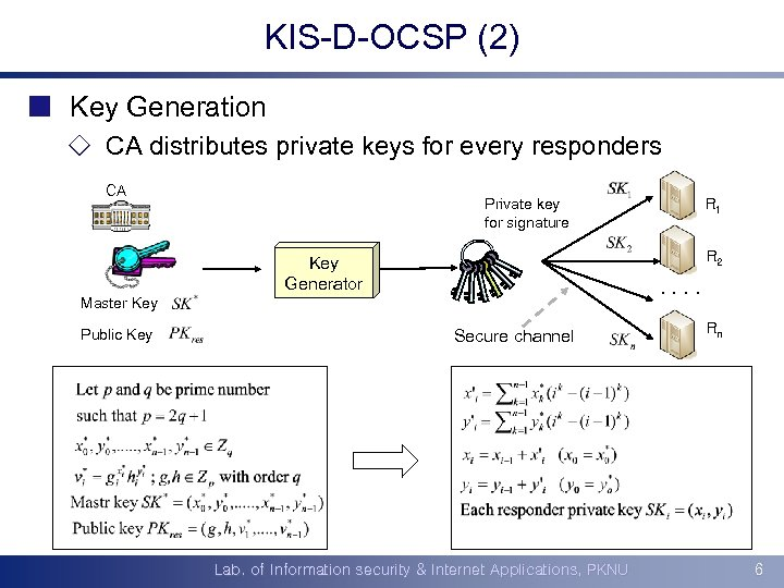 KIS-D-OCSP (2) ¢ Key Generation ¯ CA distributes private keys for every responders CA