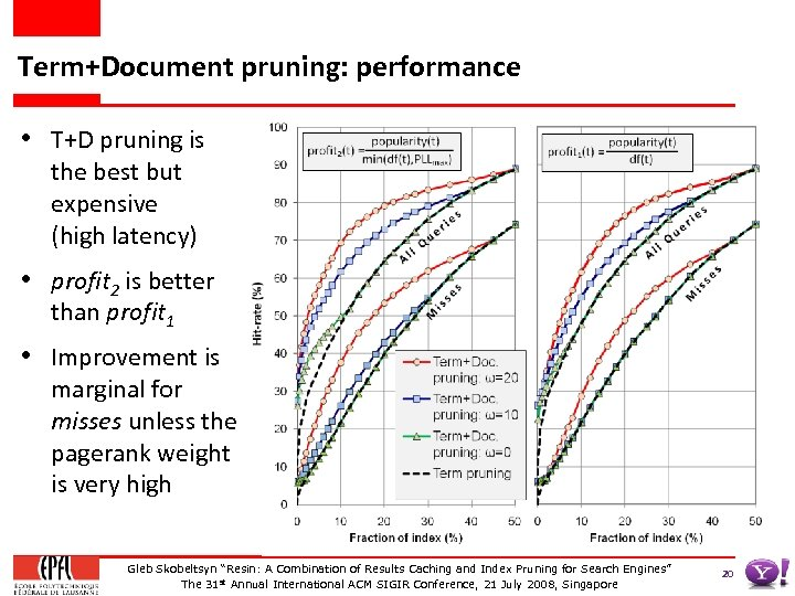 Term+Document pruning: performance • T+D pruning is the best but expensive (high latency) •
