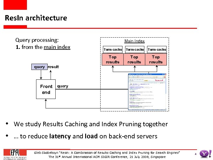 Res. In architecture Query processing: 1. from the main index query result query Front