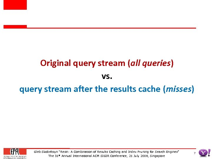 Original query stream (all queries) vs. query stream after the results cache (misses) Gleb