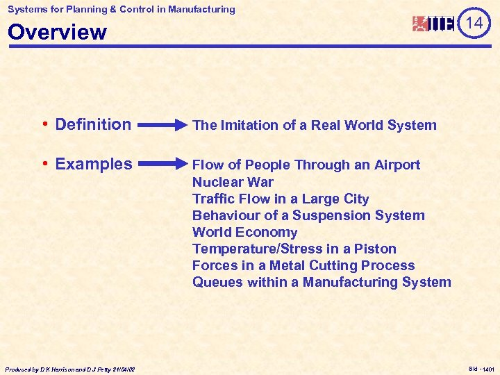 Systems for Planning & Control in Manufacturing Overview • Definition The Imitation of a