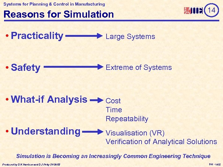 Systems for Planning & Control in Manufacturing Reasons for Simulation 14 • Practicality Large
