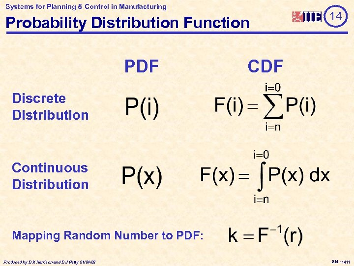 Systems for Planning & Control in Manufacturing Probability Distribution Function PDF 14 CDF Discrete