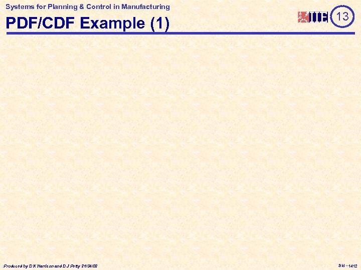 Systems for Planning & Control in Manufacturing PDF/CDF Example (1) Produced by D K
