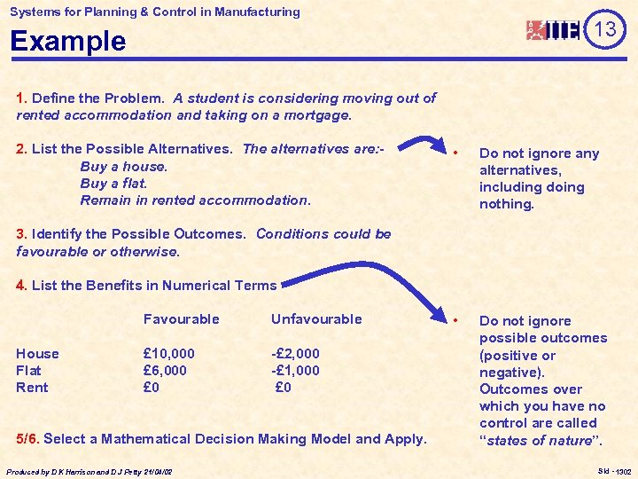 Systems for Planning & Control in Manufacturing 13 Example 1. Define the Problem. A
