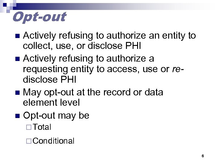 Opt-out Actively refusing to authorize an entity to collect, use, or disclose PHI n
