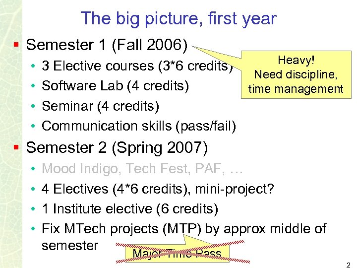 The big picture, first year § Semester 1 (Fall 2006) • • Heavy! 3
