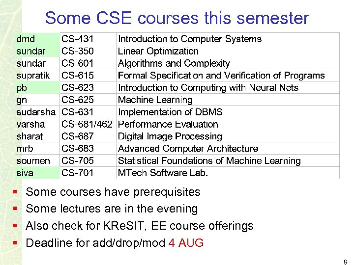 Some CSE courses this semester § § Some courses have prerequisites Some lectures are