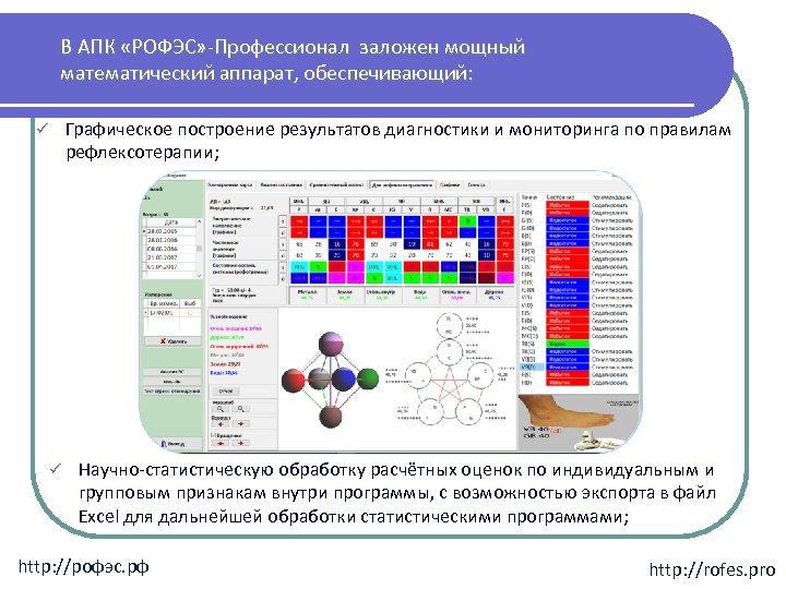 В АПК «РОФЭС» -Профессионал заложен мощный математический аппарат, обеспечивающий: Графическое построение результатов диагностики и