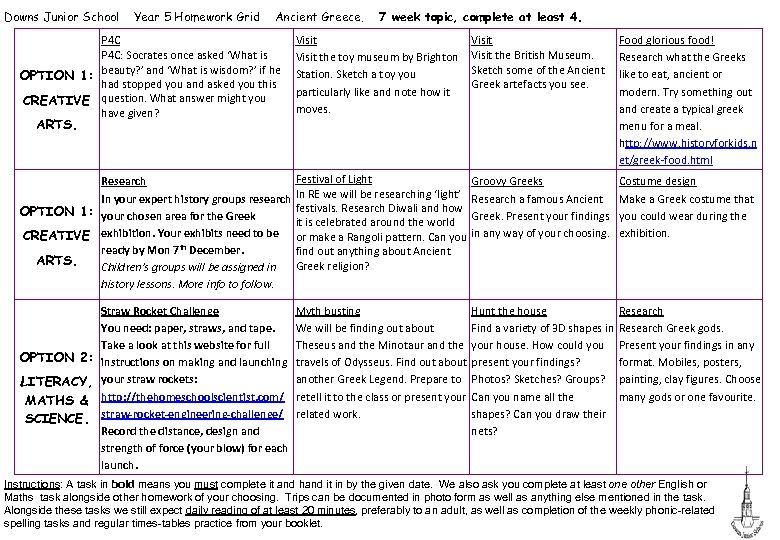 Downs Junior School Year 5 Homework Grid Ancient Greece. P 4 C: Socrates once
