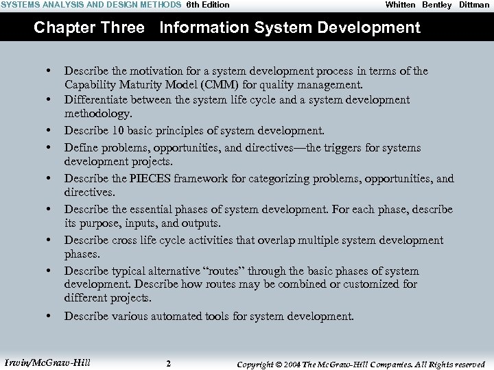 SYSTEMS ANALYSIS AND DESIGN METHODS 6 th Edition Whitten Bentley Dittman Chapter Three Information