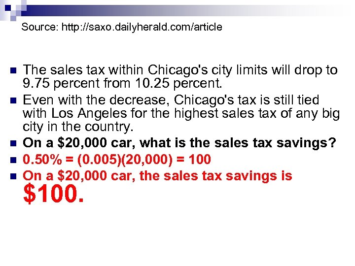 Source: http: //saxo. dailyherald. com/article n n n The sales tax within Chicago's city
