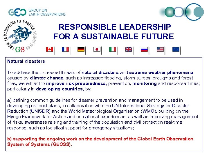 RESPONSIBLE LEADERSHIP FOR A SUSTAINABLE FUTURE Natural disasters To address the increased threats of