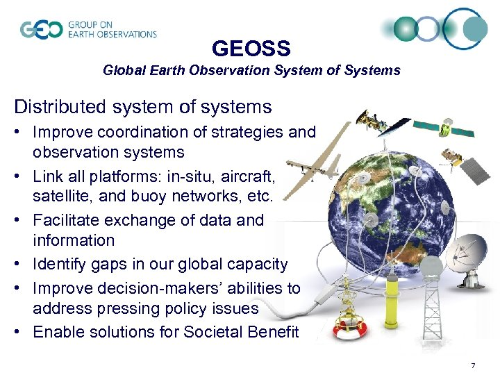 GEOSS Global Earth Observation System of Systems Distributed system of systems • Improve coordination