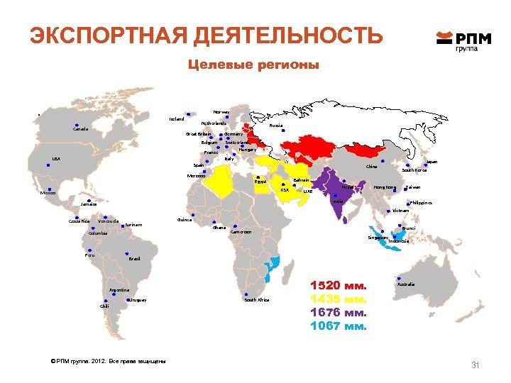 ЭКСПОРТНАЯ ДЕЯТЕЛЬНОСТЬ Целевые регионы . Norway Iceland Canada Netherlands Belgium France USA Russia Germany