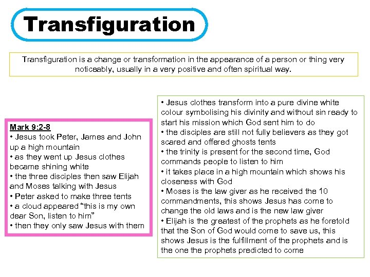 Transfiguration is a change or transformation in the appearance of a person or thing