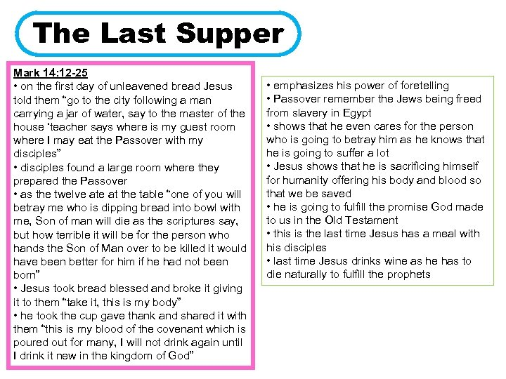 The Last Supper Mark 14: 12 -25 • on the first day of unleavened