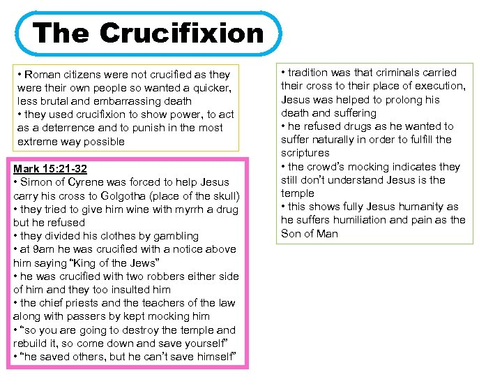 The Crucifixion • Roman citizens were not crucified as they were their own people