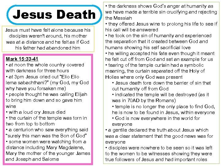 Jesus Death Jesus must have felt alone because his disciples weren't around, his mother