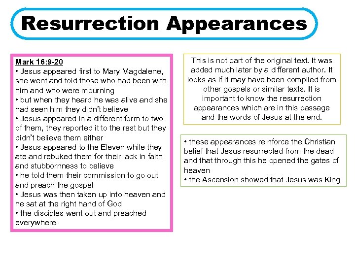 Resurrection Appearances Mark 16: 9 -20 • Jesus appeared first to Mary Magdalene, she