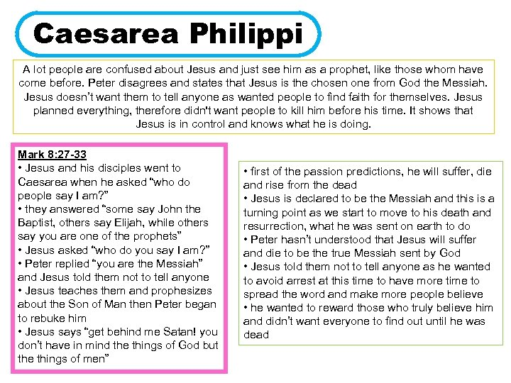 Caesarea Philippi A lot people are confused about Jesus and just see him as